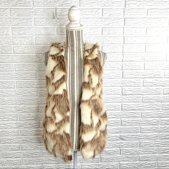 Decree Multicolored Shaggy Faux Fur Vest